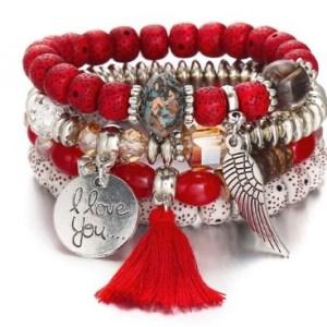Bracelet boho perles rouges