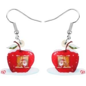 Boucles d'oreilles Noel pomme
