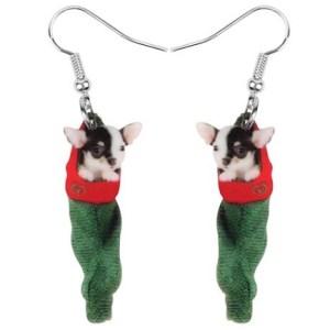 Boucles d'oreilles chihuahua chaussette de Noel