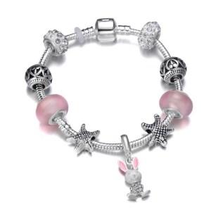 Bracelet charms lapin étoile de mer