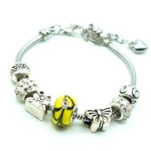 Bracelet charms perle jaune noir