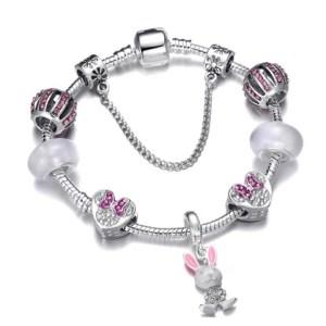 Bracelet charms strass rose