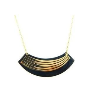 Collier acier doré plaque noir