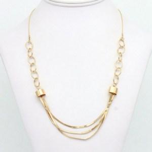 Collier court maille anneau métal doré