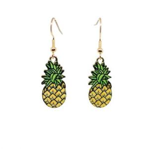 Boucles d'oreilles ananas émail