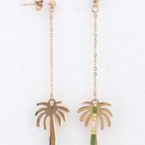Boucles d'oreilles pendantes palmier vert