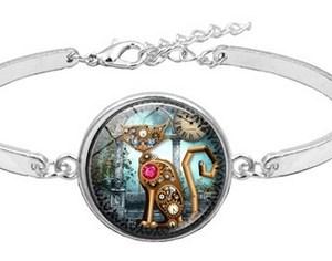 Bracelet médaillon chat mécanique