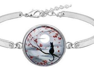 Bracelet médaillon chat sur branche