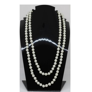 Sautoir perles beiges