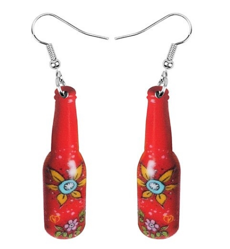 Boucles d'oreilles bouteille rouge fleurs