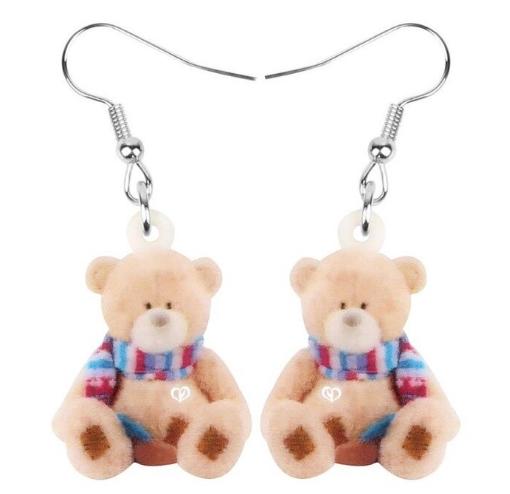 Boucles d'oreilles ours en peluche