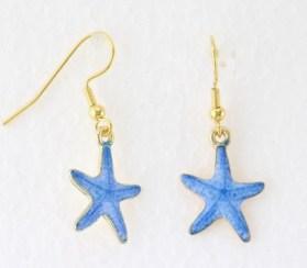 Boucles d'oreilles émail étoile de mer bleu
