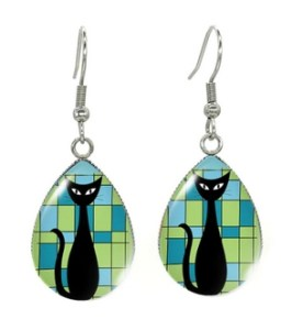 Boucles d'oreilles goutte bleu vert chat