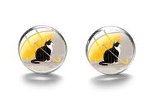 Boucles d'oreilles médaillon chat parapluie