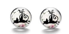 Boucles d'oreilles médaillon duo chats