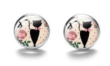Boucles d'oreilles médaillon rose chat