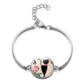 Bracelet médaillon rose chat