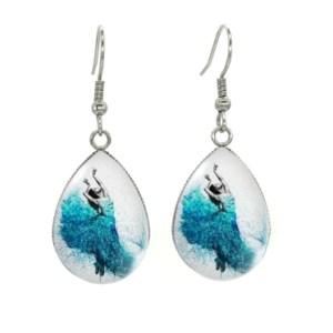 Boucles d'oreilles médaillon danseuse robe bleu