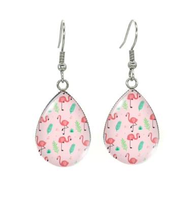 Boucles d'oreilles médaillon flamant rose feuilles