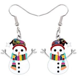 Boucles d'oreilles bonhomme de neige écharpe multicolore émail