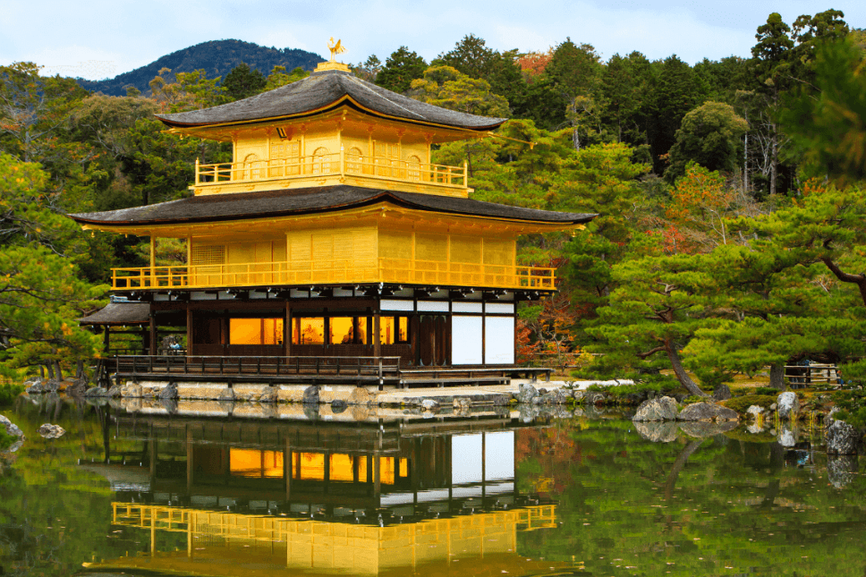 Kinkaku-ji, the Golden Pavilion, one of the most renowned Kyoto temples