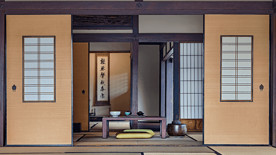 The dining area of a traditional Japanese ryokan