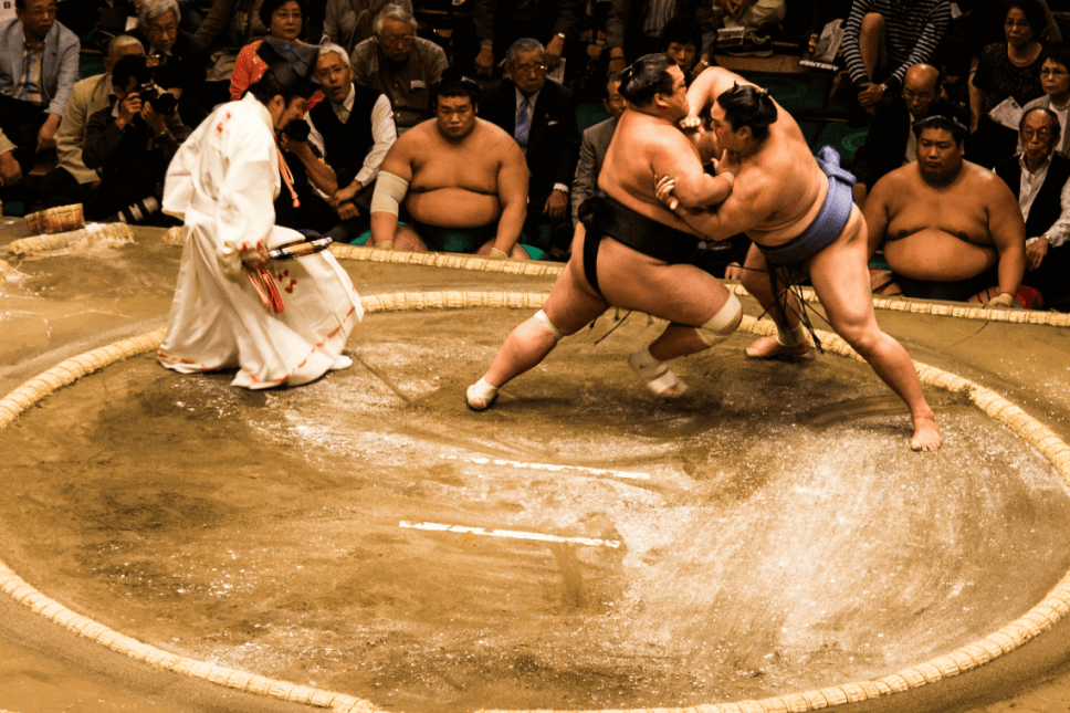 Sumo wrestlers during a tournament in Tokyo, Japan