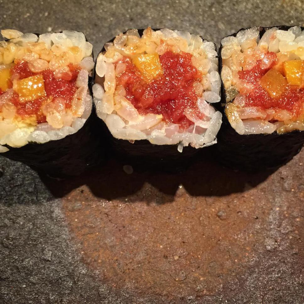Nigirizushi (nigiri sushi), a very popular type of Japanese food, at a sushi-ya in Ebisu, Tokyo