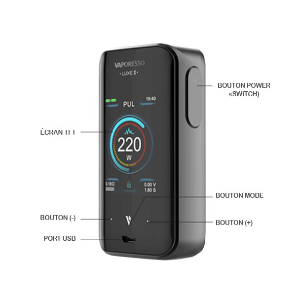 Box Luxe 2 Vaporesso - Fonctions