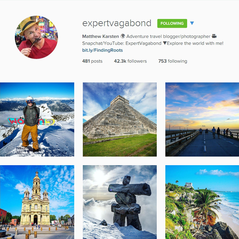 Join the journey Expert Vagabond on Instagram