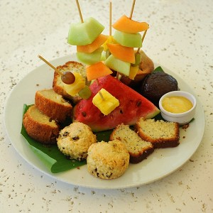 Tropical fruits and homemade cakes at Ottley's Plantation Inn, St Kitts