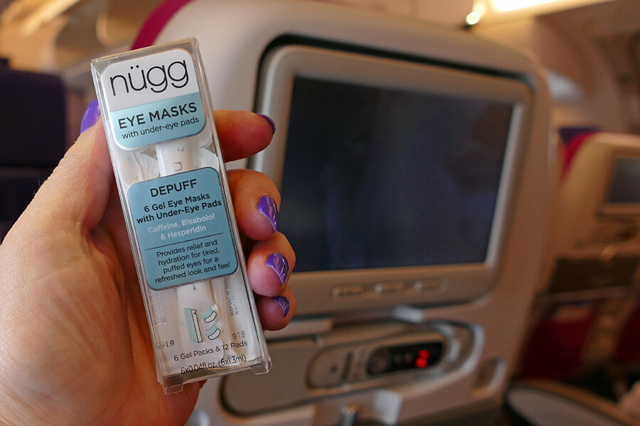 Nügg eye mask, one of my top ten beauty tips for long haul flights | In flight skincare routine