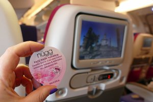 Nügg hydrating face mask, one of my top ten beauty tips for long haul flights