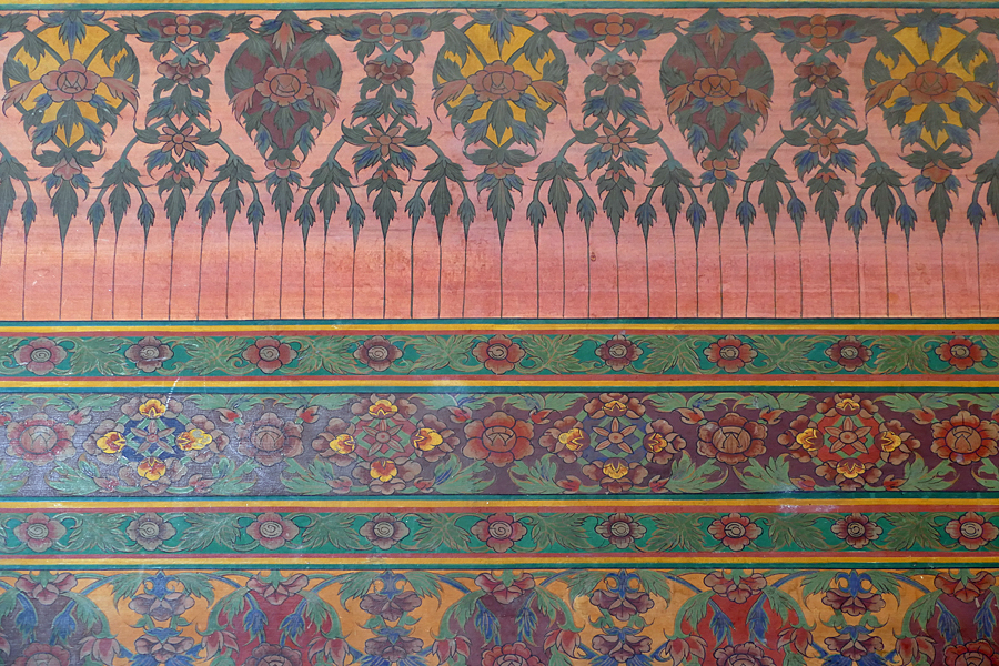 The hand painted wallpaper of the Wat Pho, Temple of Reclining Buddha, Bangkok, Thailand