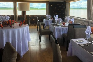 Dining room aboard Delfin III