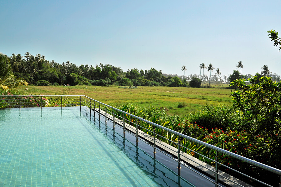 The children's infinty pool at Alila Diwa, a luxury 5 star hotel in south Goa