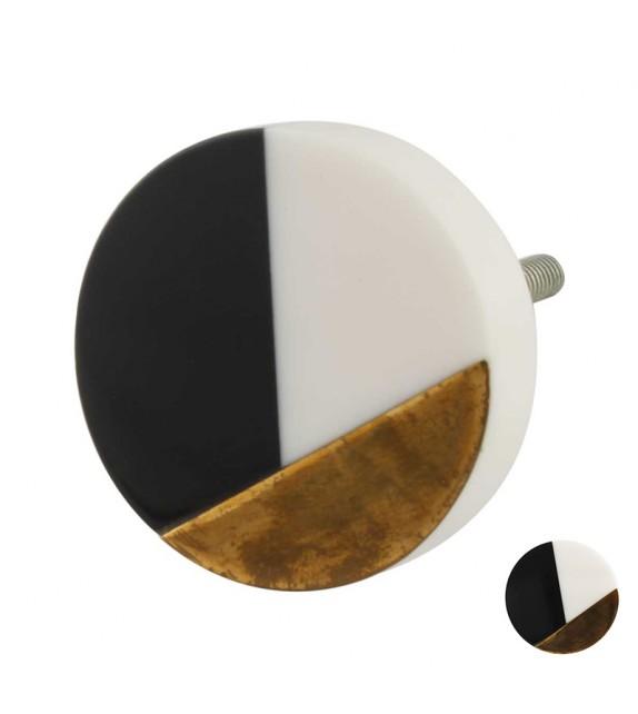 bouton de meuble graphique vintage noir et blanc rond