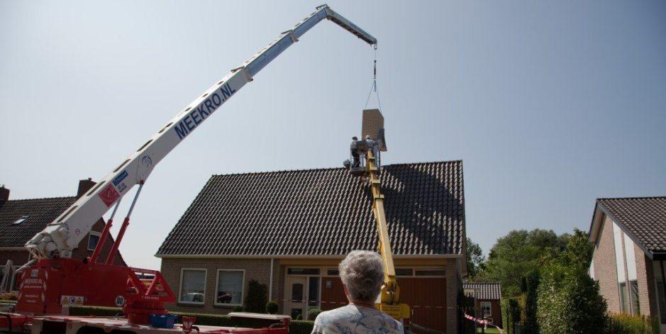 Schoorstenen risicowoningen in Groningen aangepakt