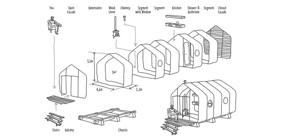 Wikkelhouse - Huis van 24 lagen karton