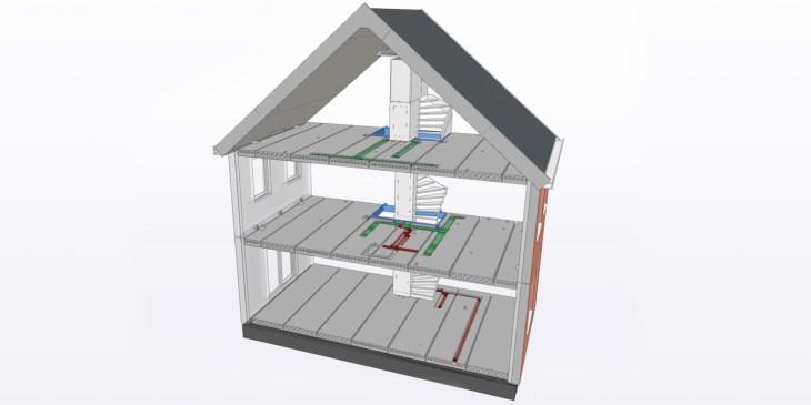 Modulair woningbouwsysteem met complete verdiepingsvloer