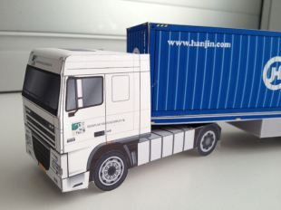 bouwplaat-papercraft-daf-xf-105-trailer-container