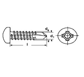 Zelfborende plaatschroef RVS Cilinderkop Pozidrive