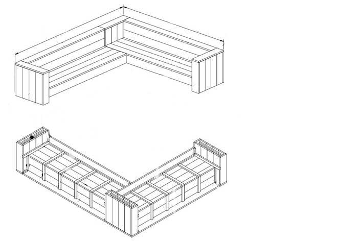Verrassend Steigerhouten hoekbank zelf maken? Deze bouwtekening bespaart je tijd! YN-25