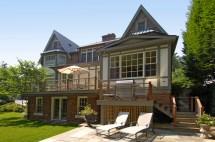 Tudor Style Home Deck