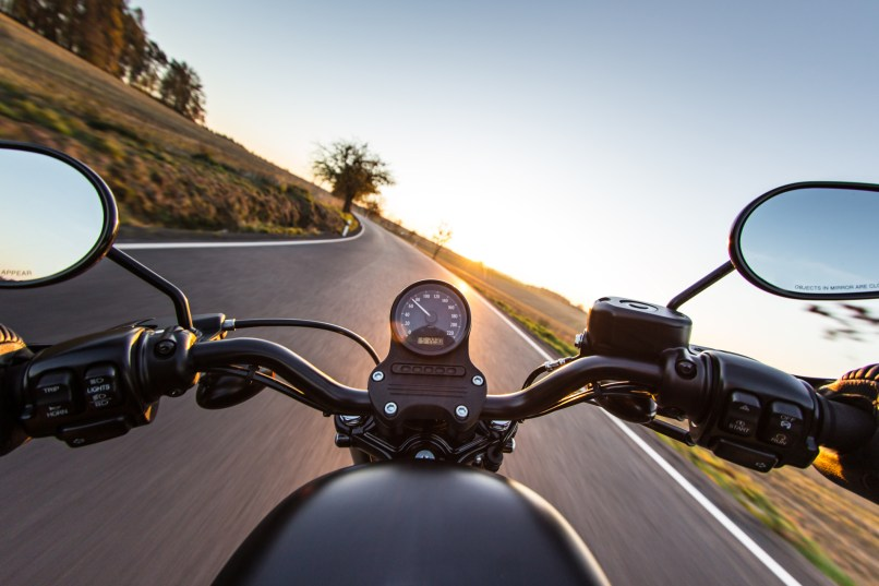 The View Over Handlebars Of Motorcycle
