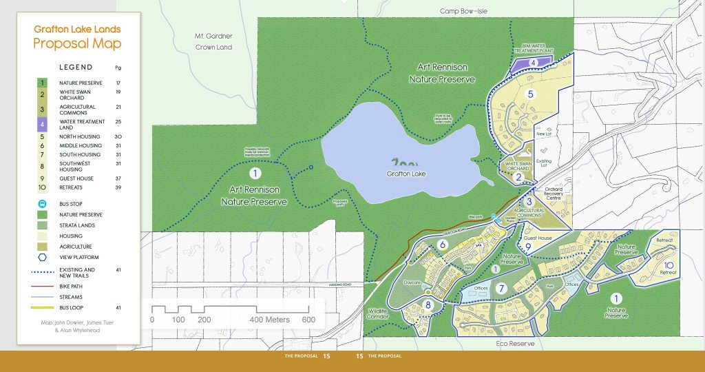 Map shows Grafton Lake, surrounded by the Art Rennison Nature Preserve, with planned residential areas to the east and south