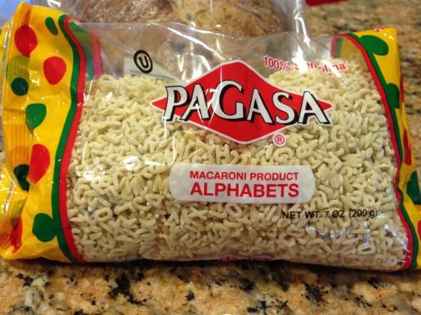 alphabet in bag