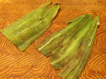 Roasted, cleaned green chiles. Seeds and membrane removed.