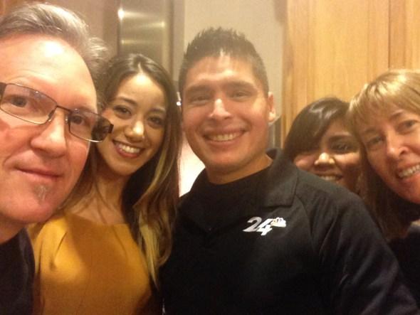 """Lastly, one of my famous """"selfie's"""" with Dan, Teresa, George, Elisa & myself."""