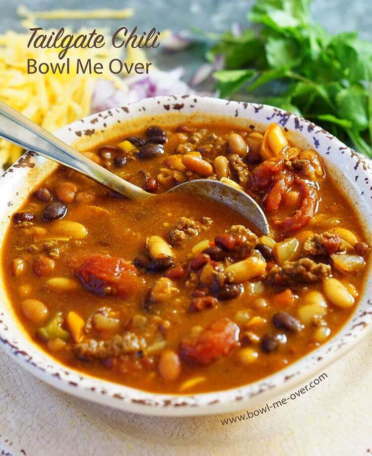 Tailgate chili has big flavor without the hot spice. One of my hubbies favorites, I make this often, once or twice a month!